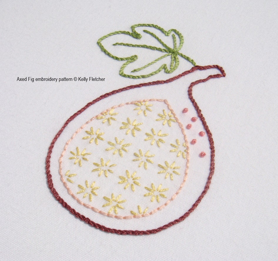 Axed fig modern hand embroidery pattern