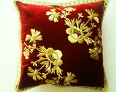 hand embroidery,gold color,red velvet,Turkish pillow 16-16''Turkish Decorative Pillows for Couch - Sofa pillow Shabby Chic Home Decor