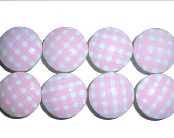 Custom Girls Baby Pink Gingham Hand Painted Drawer Pulls Knobs