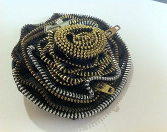"""ON CLEARANCE!!  One of a kind, handmade, rose Hair-clip made out of metallic zippers. """"Zipper Rose"""""""