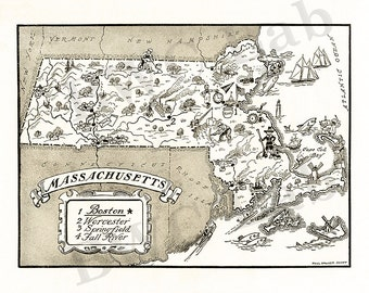 Pictorial Map of Massachusetts - fun illustration of vintage state map