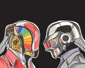"Original Digital Illustration Print: ""Daft Punk"""