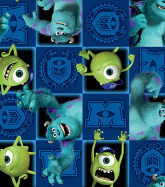 Items similar to monsters inc fleece fabric by the yard for Baby monster fabric