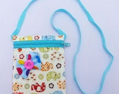 Thailand, Cotton, Coin  Purse, Bag. Zippers bag , strap, Elephant, Ribbon, Blue :Z0032