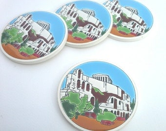 Greek Coaster, Ceramic Coaster, Handpainted Ceramic, Vintage Ceramic