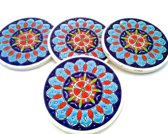 Ceramic Coaster, Coaster Set, Blue Coaster, Floral Coaster, Greek Ceramic, Drink Coaster, Mandala Coaster, Bohemian Coaster