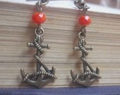Vintage style bronze earrings Anchor red crystal Romantic  Anchor shabby chic antique