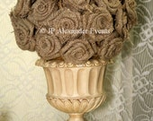 Hand-made burlap roses covered pomander. Perfect for weddings, birthday parties, bridal showers, baby showers, children's parties, etc.