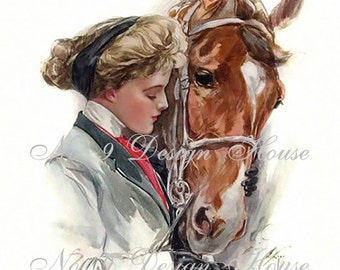 Digital Download Harrison Fisher Woman with Horse, Vintage Image, Card Making, Altered Art, Mixed Media, Horse Digital