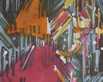 Original Abstract Batik Painting. Rain Painting. Home Decor. Wall Hanging Modern Art. Handmade. SPLUSH OF HAPPINESS.