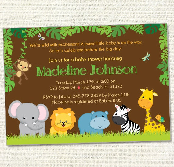Safari Friends Baby Shower Invitation Digital File Your