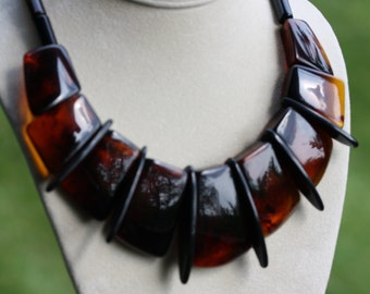Vintage 70s Lucite Tortoise Shell Necklace