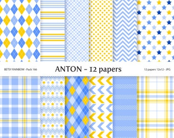 Digital Paper Baby Boy Pack, 12 Baby Boy Digital Papers in blue and yellow - BR 166