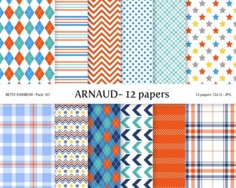 Blue and red Digital Paper Pack for boys, 12 baby boy digital papers in blue and red - BR 167