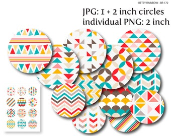 Geometrical circles digital download,  Digital Collage Sheet, Bottlecaps Pendants Magnets Buttons, PNG and JPGs,  BR 172