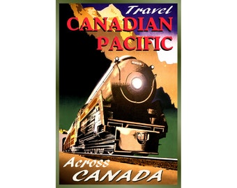 CANADIAN PACIFIC Railway -New Retro Train Travel Poster -available in 3 sizes- Streamlined Steam Locomotive Scenic Rockies Art Print 126
