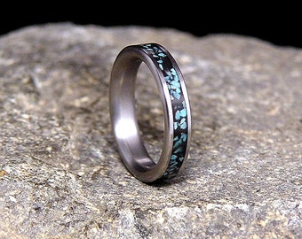 Sleeping Beauty Turquoise Inlay Titanium Wedding Band or Ring