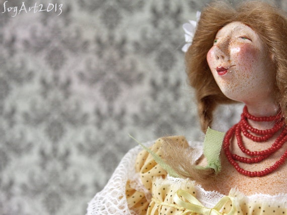 Art Doll Nonna made with Paperclay by hand