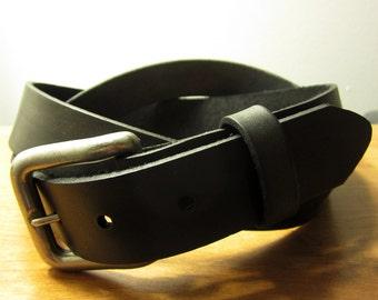 Womens Skinny Full Grain Leather Belt (Black)