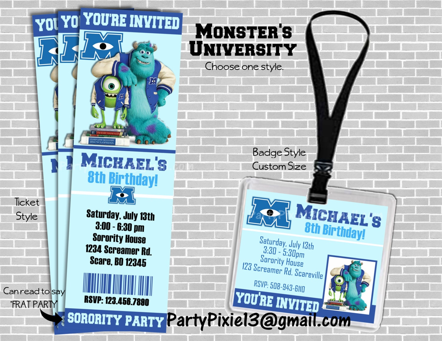 Monsters University Party Invitation Ticket Style or Badge