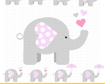 Girl Baby Elephant Clip Art - Digital clipart graphics - Commercial Use OK - great for an elephant baby shower