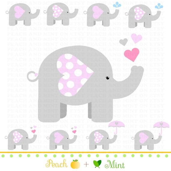 Girl Baby Elephant Clip Art Digital clipart graphics