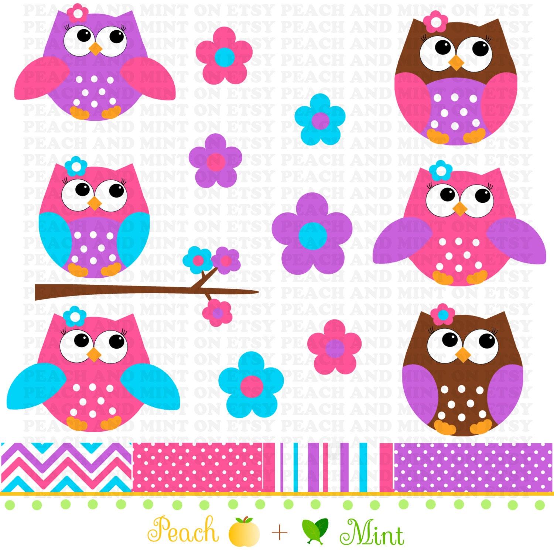 Cute Pink Owl Clip Art Digital clipart graphics by PeachAndMint