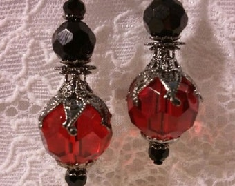 Red and Black Earrings, Victorian Earrings