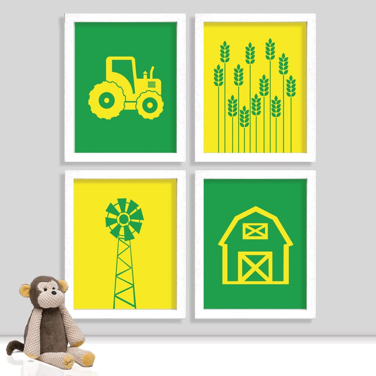 Farming Print Set Tractor Nursery Set of Four 8x10 Prints