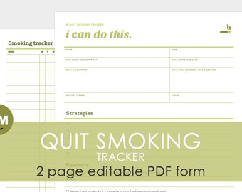 Quit Smoking: 2 page editable PDF tracking form