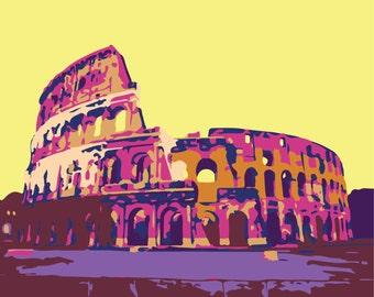 Colosseum Rome Italy Roman Architecture graphic wall art illustration print