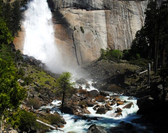 Nevada Falls in Yosemite print in color or black and white.