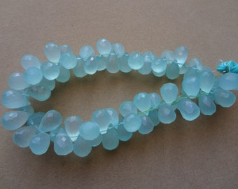 30 pcs 6 to 10 mm Aqua Clacedony Briolette Drops -Amazing quality and price