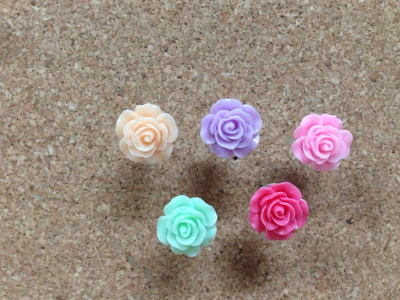 Set of Five upcycled pastel flower thumbtacks