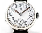 RARE Vintage Men's 1920s Omega Sterling Silver Military Watch w/ Porcelain Dial
