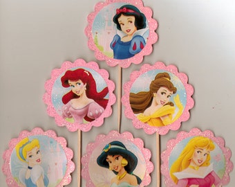 Glittery and pink Princess Cupcake Toppers Birthday Party Decorations Set of 12