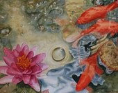 Water Lily Painting, PRINT, Watercolour Painting,  Fish pond, Koi Fish, Home decor, Carp, Koi, Fine Art Print, Free Shipping