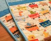 Baby Quilt, Modern, Circus Animals, Turquoise, Orange, Yellow, Mod