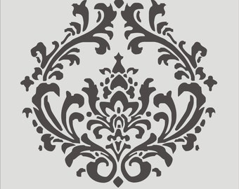Damask Stencil- Damask 4.3 -Reusable Stencil Design - SALE- 16x16 Available- Create your own signs or pillows