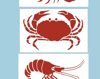 Crab Lobster and Shrimp - Reusable Stencil with Checkerboard / Crab stencil 6x4 / Lobster is 6.5x4/ Shrimp is 6x3-