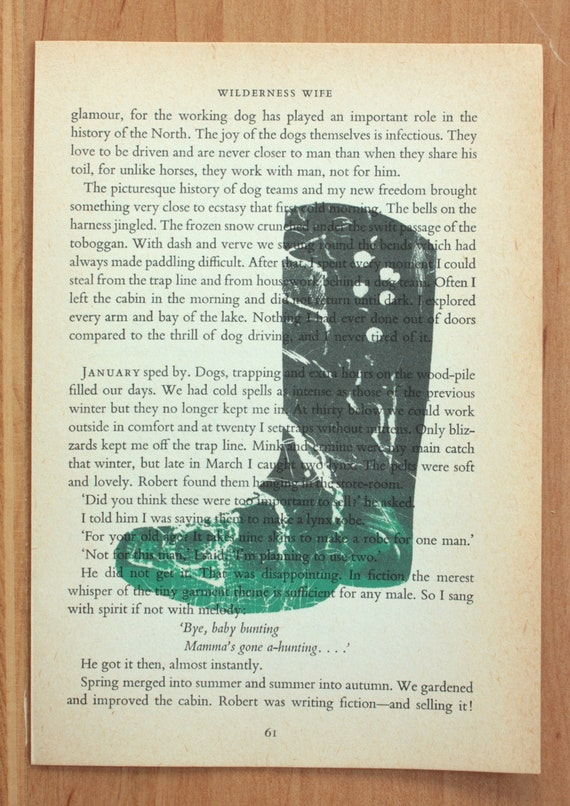 Wilderness Wife Welly - Wellington Boot Illustration printed on Vintage book page (Roughly A5) - ASpinkArt