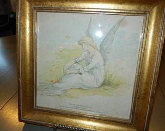 Antique Print of Angel in Field