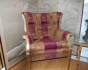 GOLD LEAF BURGUNDY Chair