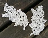 2 PCS Victorian Embroidery Venice Lace Ivory Leaf Appliques