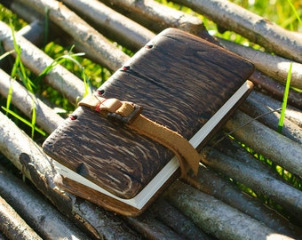 Unique handmade  journal with distressed oak wood cover / natural finish / made to order