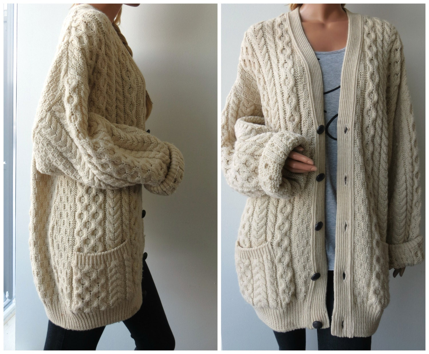 Oversized Cable Knit Hooded Sweater - thegogreenblog