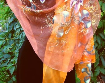 Natural silk shawl - floral, brown-orange hand painted scarf