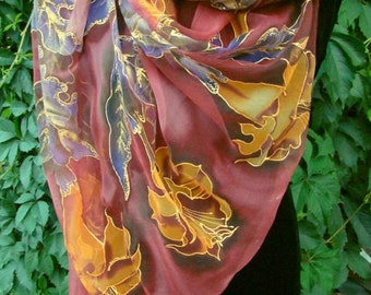 Natural silk shawl - floral, claret hand painted scarf