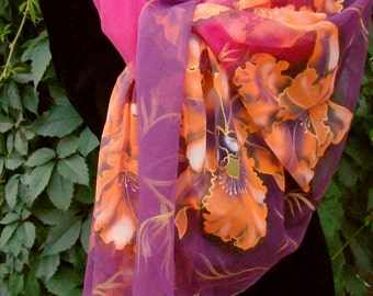 Shawl.Natural silk shawl - floral, crimson orchid flower hand painted shawl.