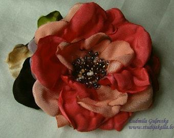Handmade indianred - peachpuff satin flower brooch, flower clip & pin